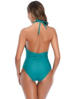 Charming Green High Cut Leg Mom Kid Swimsuit Swimwear