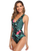 Amazing Green Ruffle Trim Cross Back Family Swimsuit Summer Women