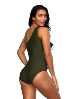 Splicing Blackish Green One Piece Swimwear Mesh Patchwork