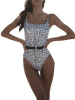 Beach Party Time Leopard Printed Square Neck Swimwear Chic