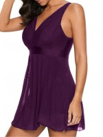 Spectacular Purple V Nech Back Hollow Out Swimsuit Mesh Ladies