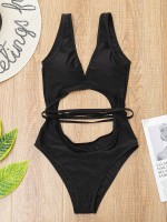 Lavish Black 1 Piece Backless Swimsuit Hollow Out Ladies