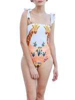 Particularly Ruffled Strap Wireless One Piece Swimwear Hawaii Comfort