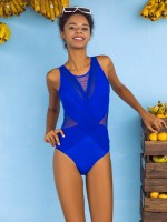 Post Surgery Royal Blue Backless Ruched Swimsuit Mesh Splice