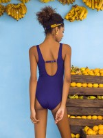 Beautifully Designed Purplish Blue Pleated Swimwear Mesh Splice Cutout