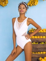 Paradise White Rhinestone Mesh Swimwear Hollow Out Form Fitting