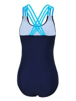 Exotic Paradise Purplish Blue Mesh Crossed Straps U Neck Swimwear