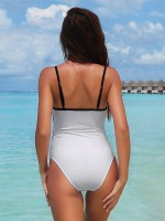 Uniquely White Contrast Color Sling Swimwear High Cut Swimming Time