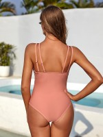 Glaring Light Pink Double Sling One Piece Swimwear Trend