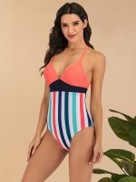 Flattering One Piece Swimsuit Lace-Up Patchwork Comfort