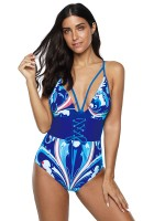 Flirty Blue Cross Back Lacing-Up High Cut Leg Swimsuit