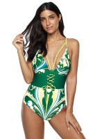Striking Green Sling Deep V Neck One Piece Swimsuit