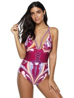 Multi-Function Pink Waist Lacing-Up One Piece Swimsuit