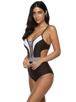 Ruching Black Striped Print One Piece Swimsuit