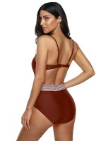Adorable Red High Waist One Piece Swimsuit