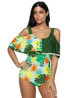 Glaring Cold Shoulder Beachwear Queen Size Wedding Trip
