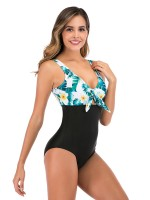 Multicolored Green Chest Pad Swimsuit Adjustable Strap Ladies