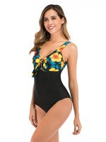 Enticing Yellow Bow-Knot Swimwear Hollow Out Women Forward