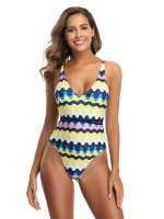Simply Chic Yellow Plunge Collar Swimwear High Cut Holiday