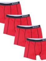 Must-Have Red 4 Pcs Colorblock Boxer Briefs Allover Loose Fitted