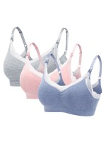 Elastic Open Front Lace 3 Pieces Nursing Bras Skinny Females