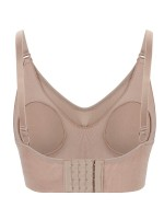 Captivating Coffee Color Ruched Backless Nursing Bra Solid Color Comfort