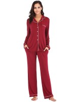Classic Wine Red Nightwear Set Button Front Pockets Cool Fashion