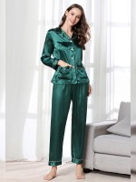 Comely Green Lapel Neck Sleepwear Pocket Button Super Comfort Fabric