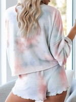 Fancy Wave Hem Tie-Dyed Pajamas Button Online Affordable
