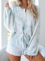 Slutty Nightwear Set Long Sleeve Thigh Length Slim Fitting All Over