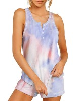 Romantic Night Sleeveless Cami Tie Dye Shorts Feminine Grace