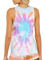 Springtime Tank Top Drawstring Tie-Dyed Shorts Slim Fitting