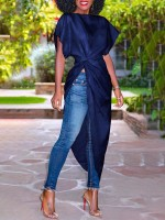 Elegant Deep Blue Ruffle Boat Neck Shirt Irregular Hem Loose