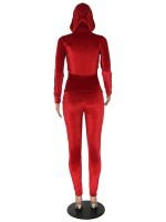 Lovely Red Two-piece Hooded Full-Length Top Suit Loose Fit