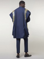 Dazzles Purplish Blue African Print Shirt And Pant 3 Pcs