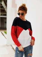 Glorious Red Contrast Color Crew Neck Sweatshirt Tops For Women