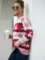Dynamic Red Sweater Geometric Print Crew Neck Fashion Design