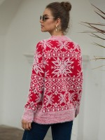 Fancinating Red Knit Full Sleeve Sweater Baggy Female Elegance