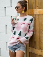 Favorite Pink Christmas Tree Sweater Contrast Color Form Fit