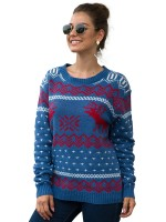 Glam Blue Elk And Snowflake Sweater Crew Neck For Sauntering