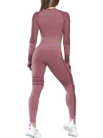 Comfy Wine Red Seamless Sport Suit For Woman