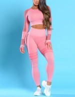Light Pink Mesh Patchwork Sports Suit Full Sleeve Warm-Up
