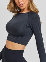 Black Color Seamless Yoga Top and Legging Sport Set
