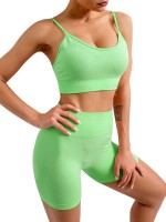 Green Women Two Piece Outfits Seamless Spaghetti Strap Crop Top and Mid Thigh Short