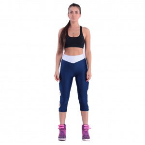 Sexy Dark Blue High Waist Hollow out Workout Leggings