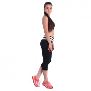 Black Mid-calf Sport Pants