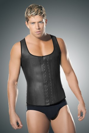 Cool Definition Latex 5 Steel Bones Mens Waist Cincher Vest