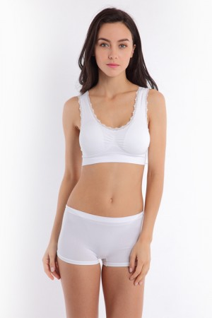 Pure White Lace Trim Wireless Ventilate Sports Bra