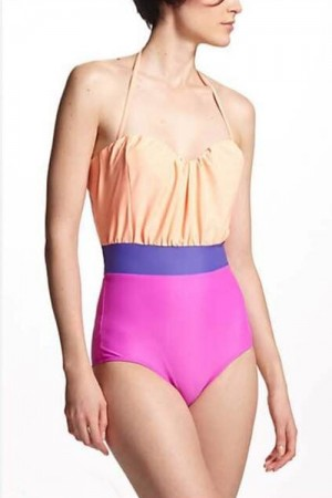 Slinky Color Stitching Halter Scalloped One Piece Swimsuit