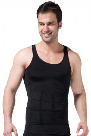 Smooth Black Mens Body Shaper Stomach Trimmer Undershirt